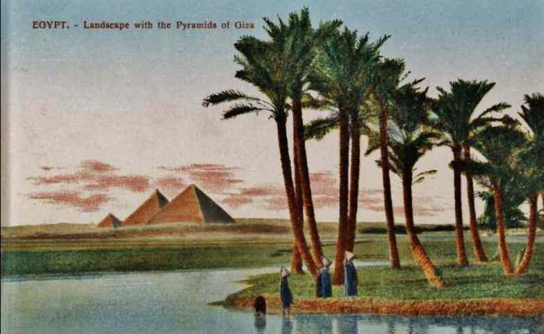 Pyramids of Egypt, from a postcard printed in 1900.