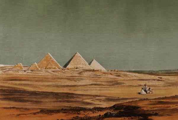 from the desert, with a cluster of Arabs in the foreground, the Gisa pyramids have a mystical air.